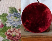 40s needlepoint wall hanging shabby chic floral cottage velvet frame