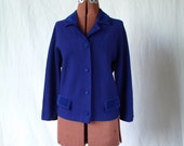 60s blue cardigan sweater sz m lg Madmen Jackie O jewel tone velour