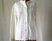 60s 70s cream white cardigan cable knit lacy lightweight sz lg xl