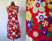 60s 70s mod shift dress scooter floral summer size sm med