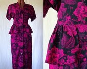 80s peplum dress floral deco-inspired pink and black xs sm