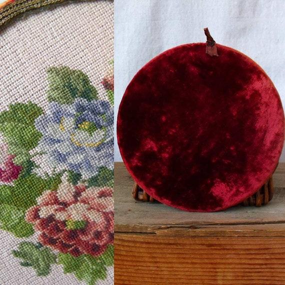 40s needlepoint wall hanging shabby chic floral cottage velvet frame