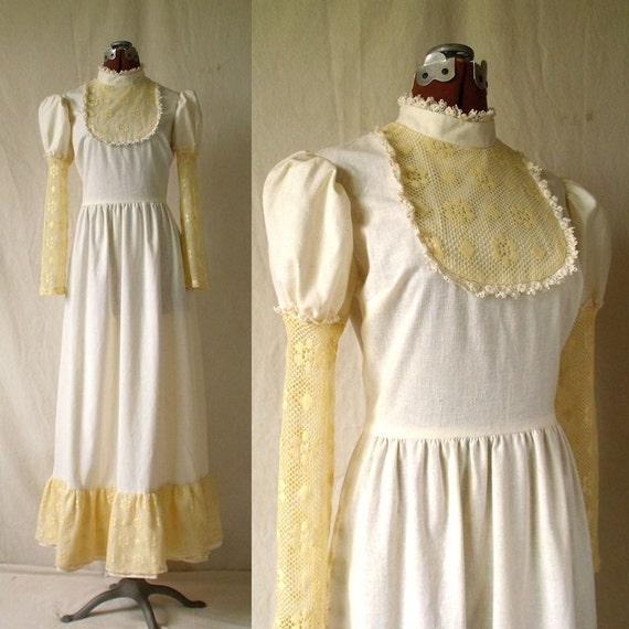 70s Gunne Sax style boho wedding maxi dress cream prairie lace sz sm