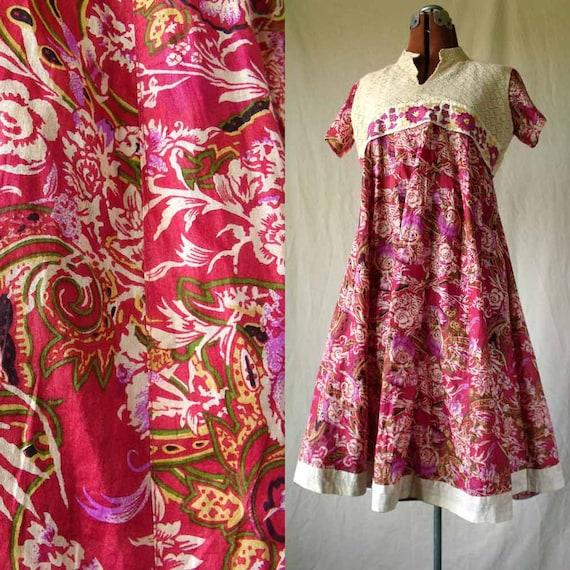 70s boho dress floral Indian cotton summer lace empire waist sz med