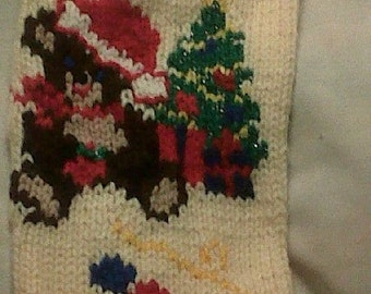 Handknitted Teddy and Tree Christmas Stocking