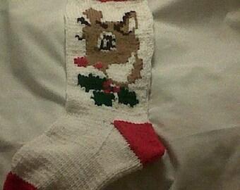 Handknitted Rudolph Christmas Stocking