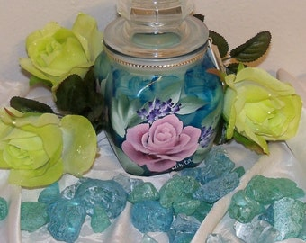 Beautiful Hand-Painted Elegant Pink Rose on Blue Sapphire Color Candle Jar