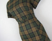 1950's dark green plaid day dress. hunter check. in a carol. medium. new old stock.