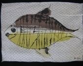 VERA fish napkins. vera neumann graphic linens. placemat setting. set of four.