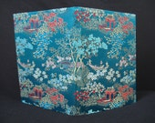 vintage oriental notebook. turquoise silk covered stationary book.  deadstock.