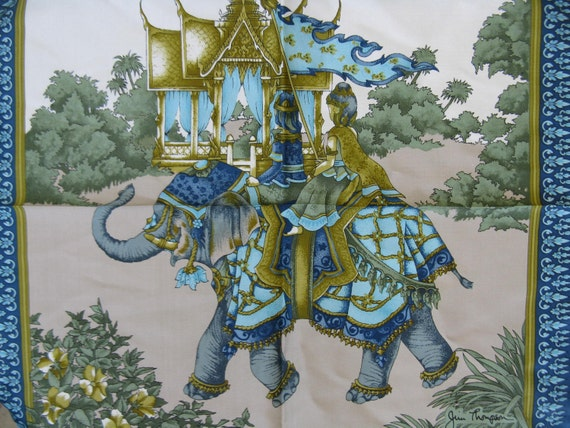 Thailand elephant vintage 60 39 s jim thompson print silk for Thai silk jim thompson