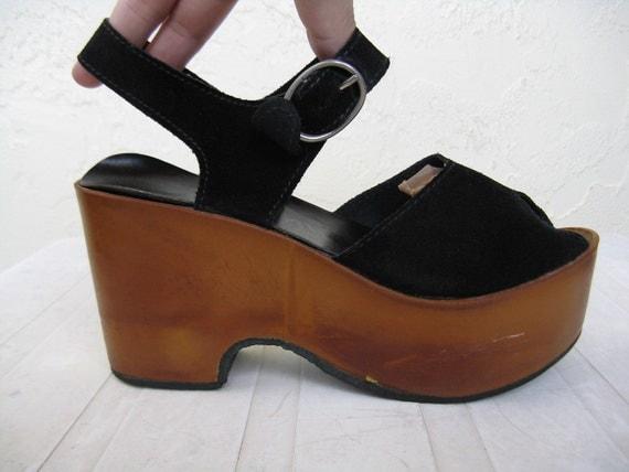 Vintage 1970 S Platform Sandals Carber Italy Black Suede
