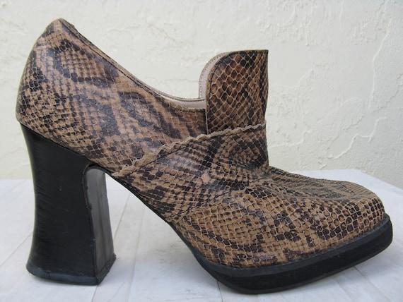 python john fluevog shoes, snakeskin SOUND goth loafer heels, 5