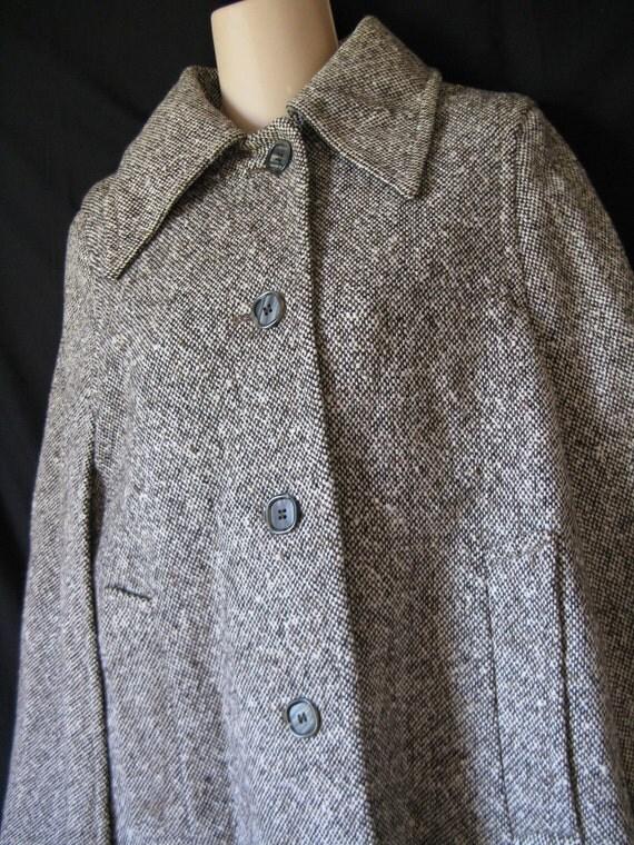vintage hourihan tweed cape. winter's best brown wool sherlock holmes cape jacket / coat