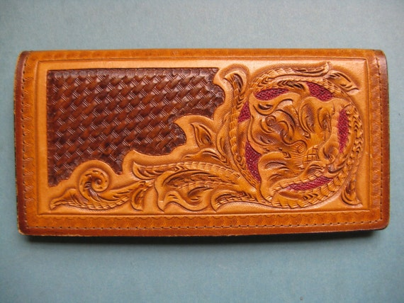 1970's flower tooled leather wallet. clutch purse