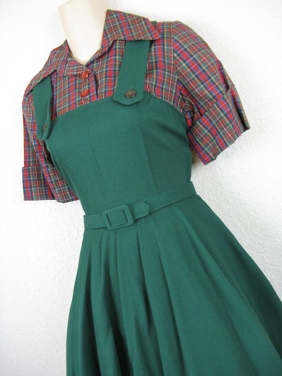 1950's plaid pinafore day dress. green tartan dolly jumper. x-small. new old stock.