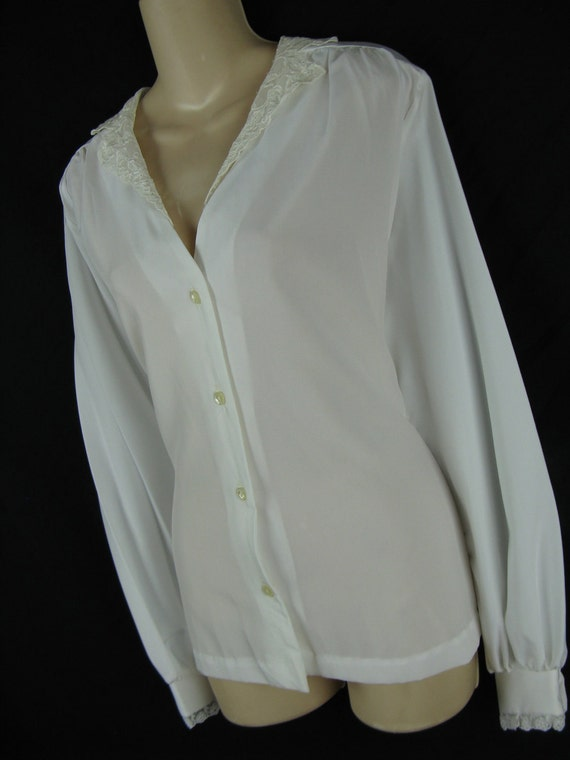 white lace blouse. 1970's classic button down. XL. new old stock.