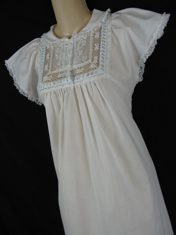 1950 S Lace Nightgown White Lewis Frimel Blue Ribbon