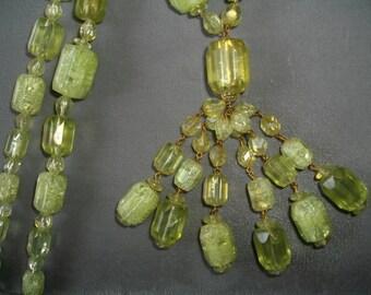 Art Deco Greens Gold Foiled  Lucite Sautoir  Necklace