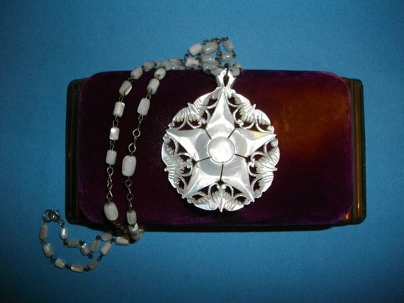 Antique Mother Of Pearl Medallion Necklace