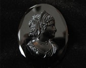 ON SALE Victorian Black Crystal Glass Molded Cameo, Mourning Jewelry