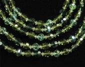 Marvella 5 Strand Crystal Necklace in Shades of Green