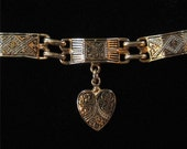 Faux Damascene Bracelet with Dangling Heart Charms