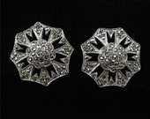 ON HOLD Sterling Marcasite Earrings, 1930's Screw Backs