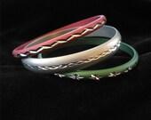 Set of Three Diamond Cut Anodized Aluminum Bangle Bracelets