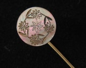 Carved Shell Stick or Hat Pin Early 1900's