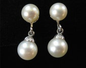Vintage Genuine Pearl Earrings, White Gold Filled