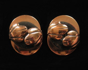 MId Century Modernist Copper Earrings, Unsigned