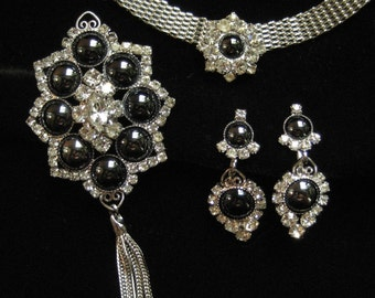 DE (Juliana) Hematite Parure, Mesh Choker, Earrings, Pin Pendant