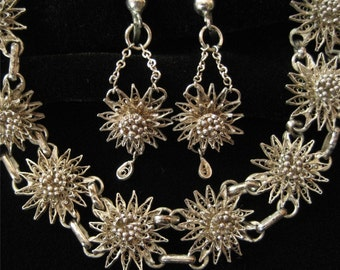Sterling Silver Filigree Demi, 1930's, Bracelet and Earrings