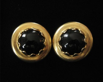Designer Quality Black And Gold Plated Earrings