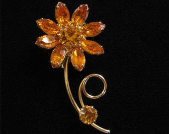 Golden Rhinestone Flower Brooch