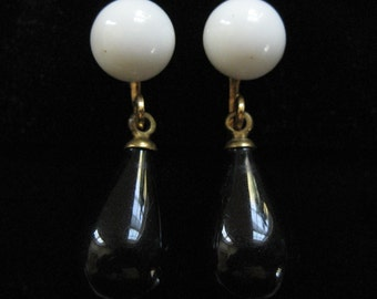 Black and White Glass Screw Back Earrings