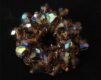 1960's Brown Aurora Borealis Crystal Brooch