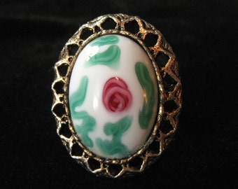White Millefiori Glass Costume Ring