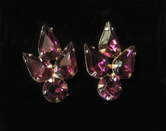 Purple Rhinestone Earrings, 1960's