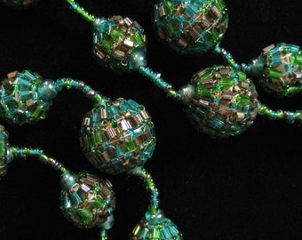 French Woven Seed Bead Necklace, 1980's