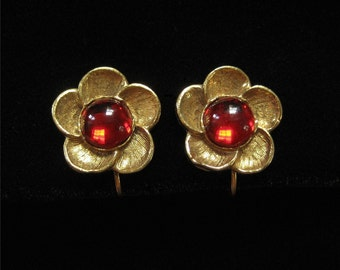 MMA Earrings, Gold Plated and Red Glass Stone