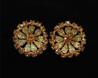 Topaz and Yellow Rhinestone Earrings