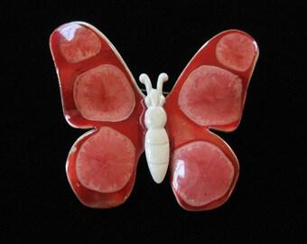 Butterfly Brooch, West German Enamel on Metal