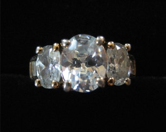 Costume Ring with Large Clear Stones, Size 6