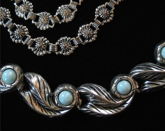Native Look Faux Turquoise and Silver Necklace, Copper