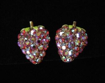 ART Signed Strawberry Earrings