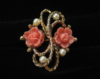 Coral Celluloid Rose Ring with Faux Pearls, Adjustable