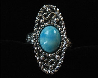 Sarah Coventry Turquoise Lucite Ring, Adjustable
