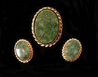 Green Jasper Brooch and Earring Set
